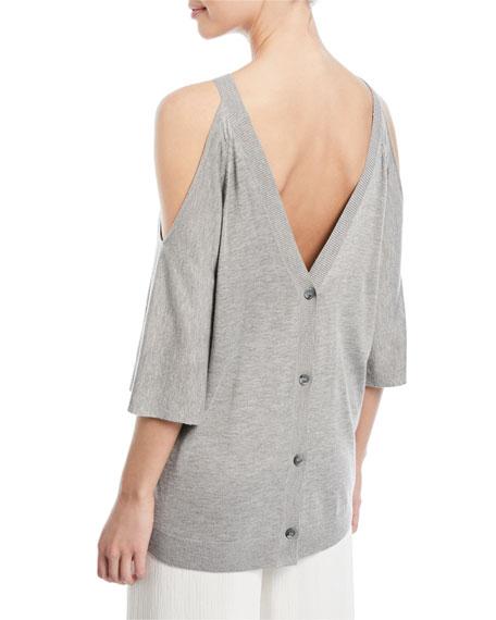 Cold-Shoulder Button-Back Sweater