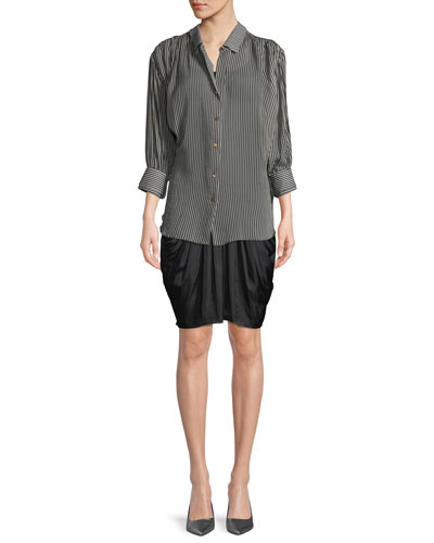 Ruched Button-Up Long-Sleeve Top and Matching Items