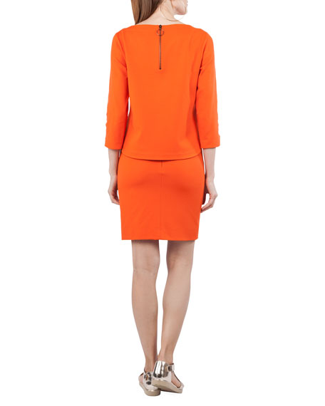 Boat-Neck 3/4-Sleeve Jersey Top with Semicircle Detail