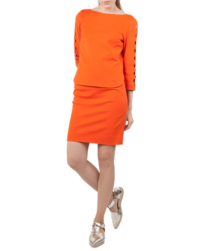 Boat-Neck 3/4-Sleeve Jersey Top with Semicircle Detail and Matching Items
