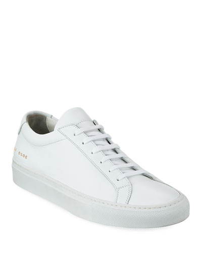 Men's Achilles Leather Low-Top Sneaker, White and Matching Items