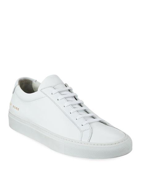 Men's Achilles Leather Low-Top Sneaker, White