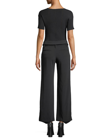 Jonathan Simkhai V-Neck Asymmetric Cross-Front Rib-Knit Top