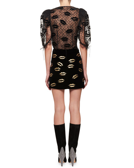 Long-Sleeve Lurex® Lip Embroidery on Tulle Blouse