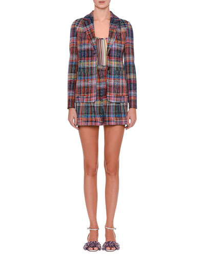 One-Button Rainbow Check Jacket and Matching Items