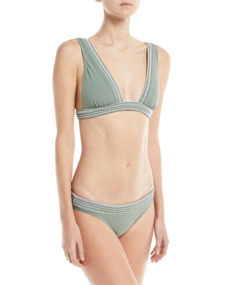 Noa Deep-V Solid Swim Top w/ Smocking