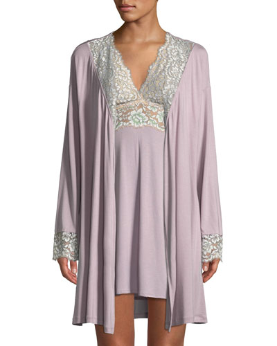 Pret-a-Porter Lace-Trim Short Robe and Matching Items
