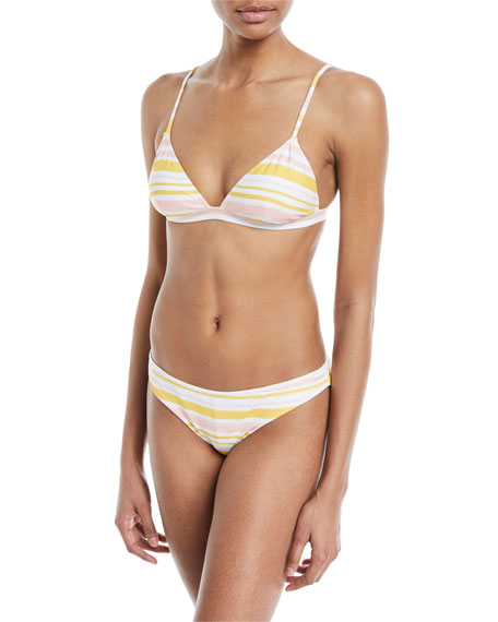 Taylor Painted-Stripe Printed Swim Top