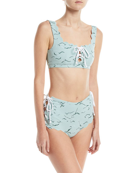 Palm Springs Scalloped Lace-Up Swim Top