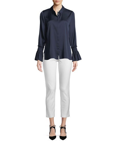 Krista Crepe Ankle Pants, White and Matching Items