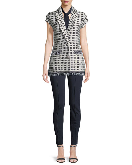 Thatched Grid Knit Cap-Sleeve Jacket