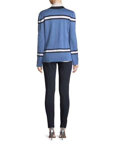 Variegated Striped Knit Cardigan