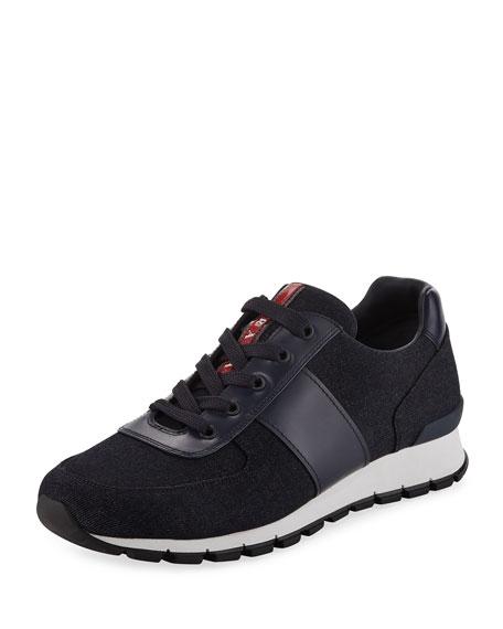 Men's Leather-Trim Denim Lace-Up Sneaker