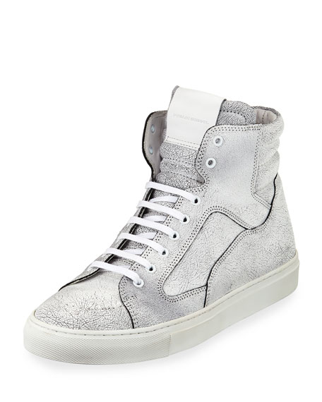 Artel Cracked Leather High-Top Sneaker