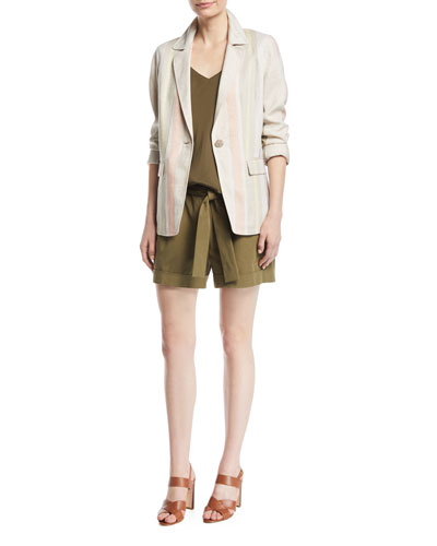 Marie Mesa-Stripe Linen Jacket and Matching Items