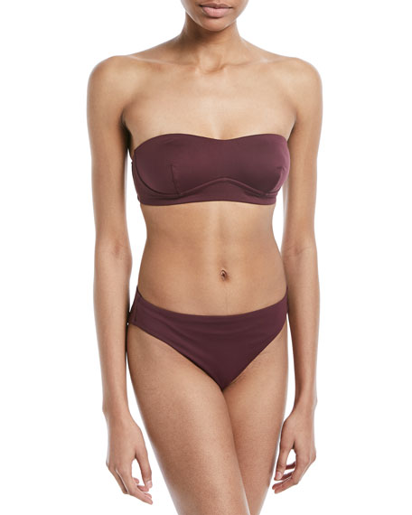 Skin Varona Bandeau Swim Top with Lace-Up Tassel Ties