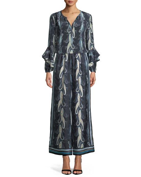 Evita Paisley-Print Blouse