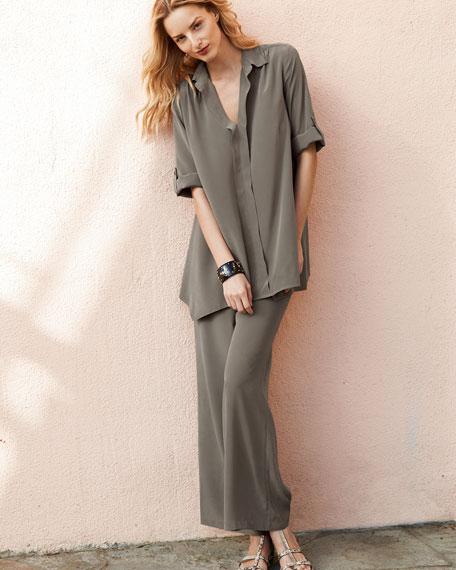 Dolman-Sleeve Silk Tunic, Petite