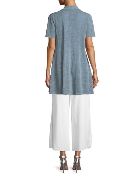 Organic Linen-Crepe Shimmer Long Cardigan