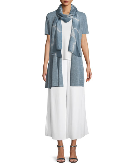Organic Linen-Crepe Shimmer Long Cardigan, Plus Size