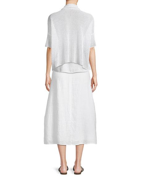 Organic Linen Open-Weave Short Cardigan, Plus Size