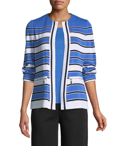 Zip-Pocket Striped Jacket  and Matching Items