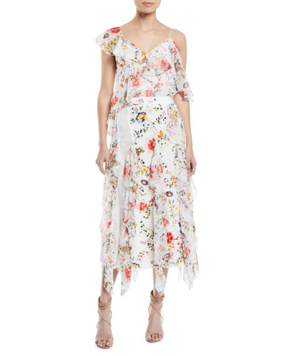 Paulina Asymmetric Floral-Print Silk Ruffle Tank and Matching Items