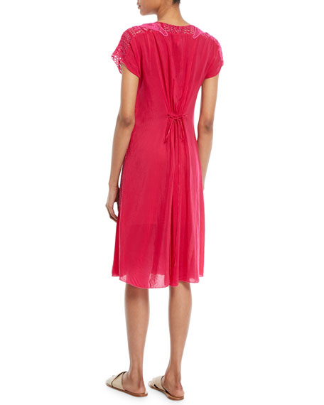 Halfrid Eyelet Dress with Chiffon Trim