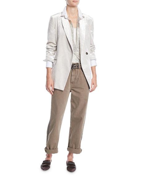 One-Button Velvet Blazer w/ Monili Pockets