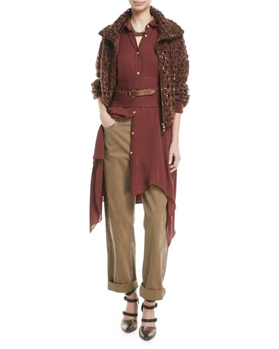 Long-Sleeve Button-Down Silk Tunic w/ Wrap Belt & Leather Closure and Matching Items