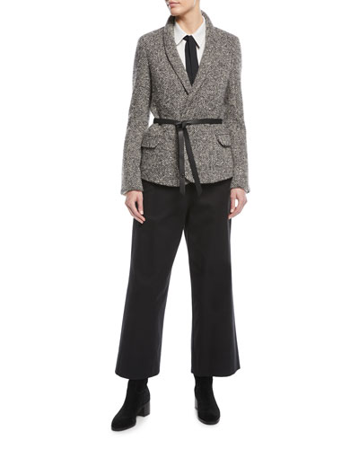 Shawl-Collar Herringbone Jacket w/ Wrap Belt and Matching Items