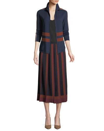 Cashmere-Silk Multicolor Pleated A-Line Skirt and Matching Items