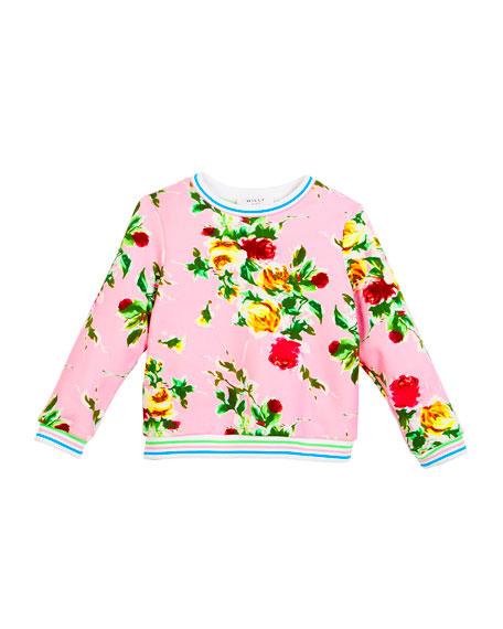 Rose-Print Sweatshirt, Size 4-7