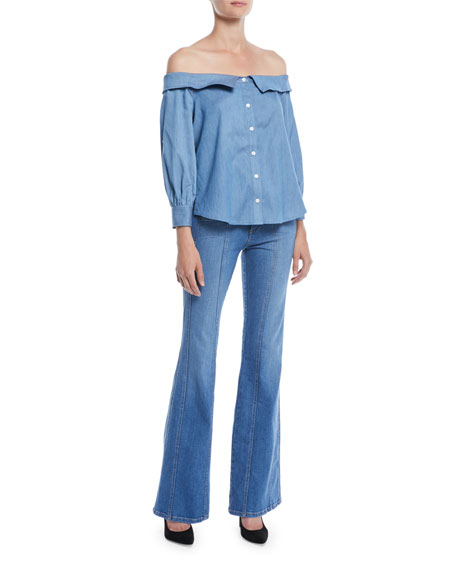 Britta Off-the-Shoulder Button-Front Chambray Top