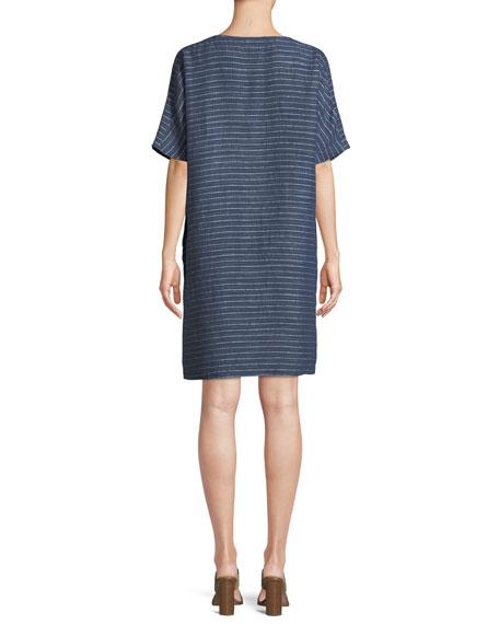 Pinstriped Denim Half-Sleeve Tunic Dress
