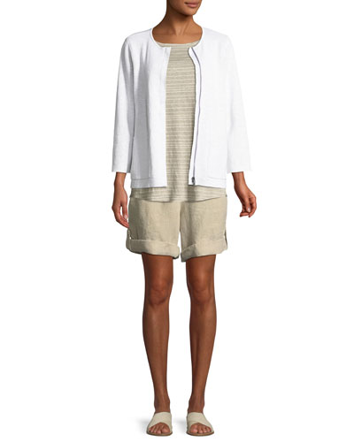 Organic Linen-Blend Zip-Front Cardigan and Matching Items