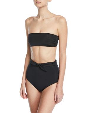 c0dcadb40be Mara Hoffman Abigail Bandeau Swim Top Jay High-Waist Tie-Front Swim Bikini  Bottoms