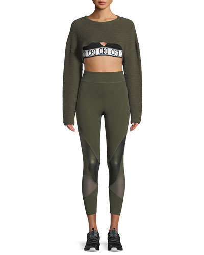 Nicolette Crewneck Long-Sleeve Cropped Top and Matching Items