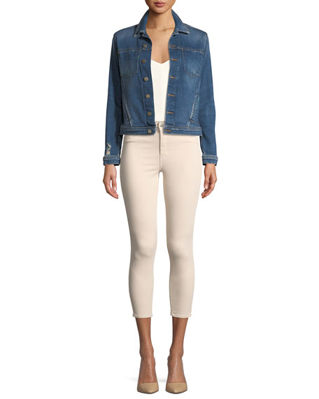 L'Agence Celine Button-Down Slim Denim Jacket