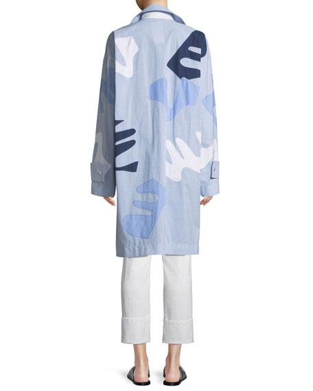 Laurita Sartorial Stripe Coat with Appliques