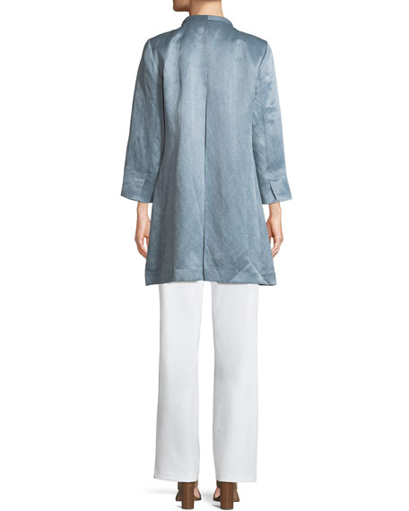 Organic-Linen/Silk Satin High-Collar Coat