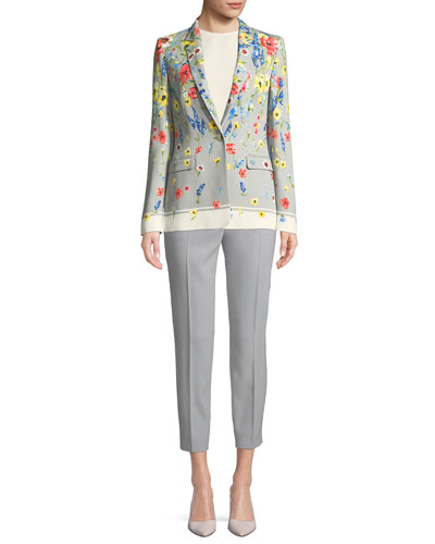 Notched-Collar One-Button Floral-Print Blazer and Matching Items