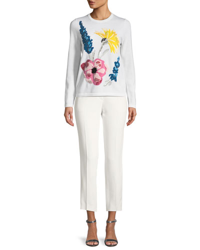 Embroidered-Floral Virgin Wool Pullover Sweater and Matching Items