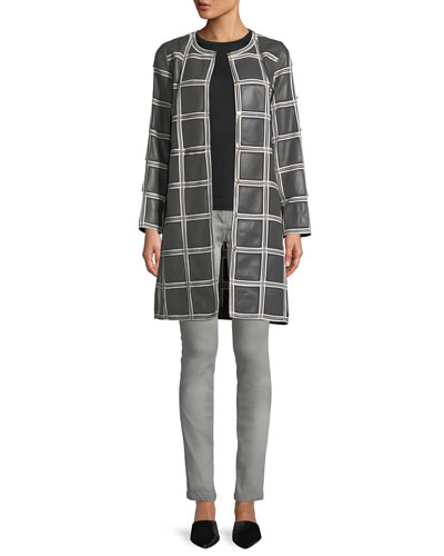 Grid-Pattern Snap-Front Lamb Leather Topper Coat and Matching Items