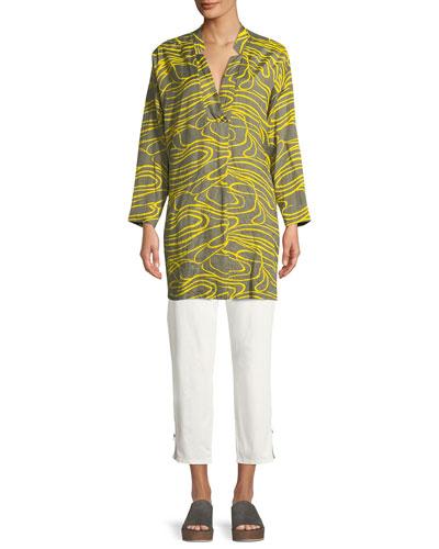 Gizanna Ribbons-Pattern V-Neck Tunic and Matching Items