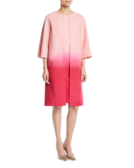 Dip-Dye Ombre 3/4-Sleeve No-Closure Long Jacket