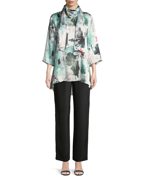 Paradise Found Floral-Print Silk Party Top, Plus Size