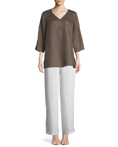 Tissue Linen V-Neck Havana Top, Petite and Matching Items