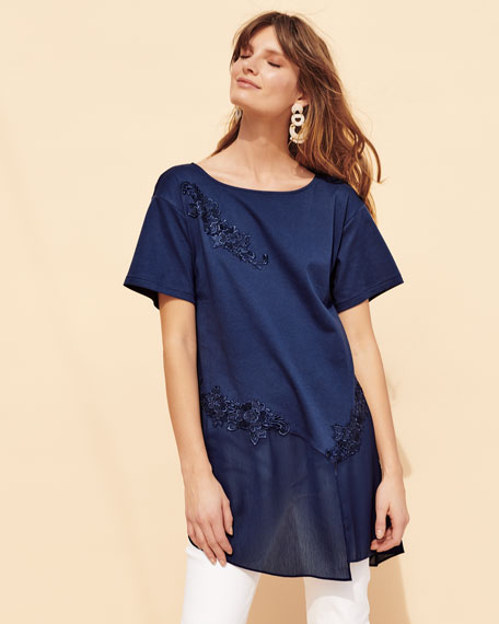 Chiffon-Trim Floral-Applique Tunic, Plus Size