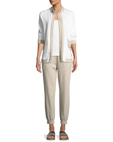 Contrast-Trim Zip-Front Pique Jacket